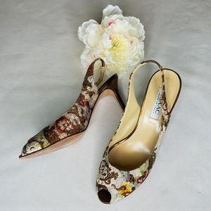 Isaac Mizrahi Floral Tapestry Sling Back Heels 10B